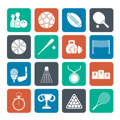 Silhouette Sport equipment icons