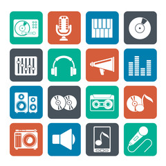 Silhouette Music and audio equipment icons