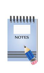 Cuaderno de notas y lápiz