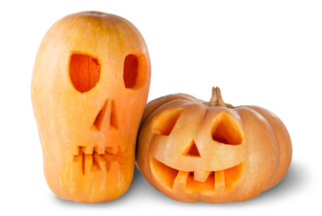 Two Jack O'Lantern Halloween Pumpkins