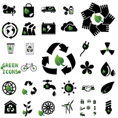 black color recycle icons