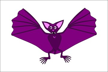 Cute violet flying bat