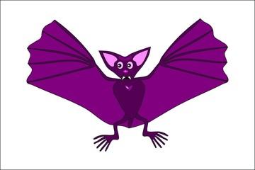 Cute violet flying bat