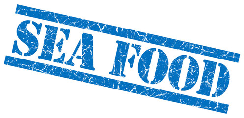 sea food blue square grunge textured isolated stamp