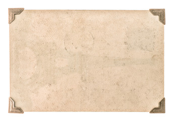 old photo paper with corner isolated on white. grungy cardboard