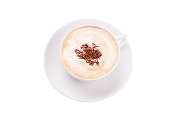 Kaffee mit Schaum und Streusel