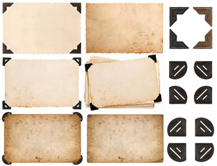 photo corner, old photo card, aged paper isolated on white