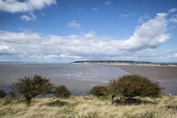 Landscape image of Weston-Super-Mare seen from sea cliffs at Bre