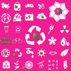 white recycle icons and leaf
