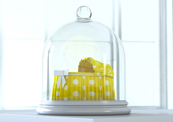 baby cradle protected under glass bell