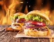 Home-made hamburgers with fire