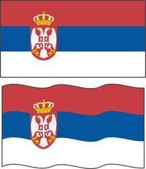 Flat and waving Serbian Flag. Vector