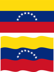 Flat and waving Venezuelan Flag. Vector