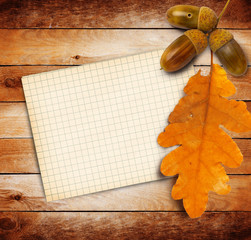 Old grunge paper with autumn oak leaves and acorns on the wooden