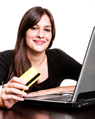 Woman using her credit card for E-commerce