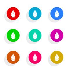pen flat icon vector set