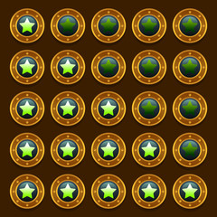 Game steampunk web rating stars set