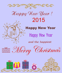 Original greetings of Merry Christmas  and Happy New Year