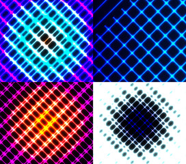 Set of dark abstract spectrum background lines. Vector