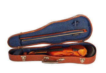 Old violin with the bow in hard cover isolated on a white backgr