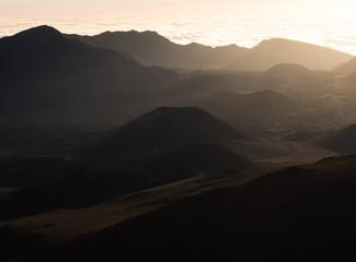 Haleakala volcanic crater at sunrise