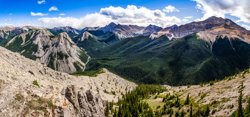 Panoramic view of Rocky mountains range, Alberta, Canada