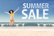 Summer sale clouds and jumping woman 4