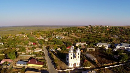 Flying over a small village in Danube Delta