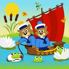 beaver on ship - vector  illustration, eps