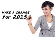 Woman writes a change for 2015