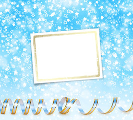 Greeting card with ribbons on a beautiful background with bokeh