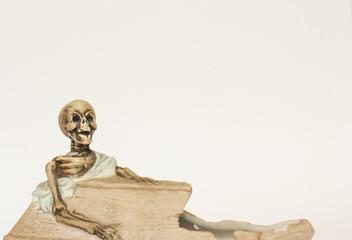 Skeleton wearing shroud reclining in coffin