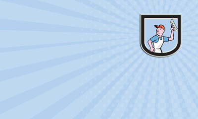 Business card Plasterer Masonry Worker Shield Cartoon