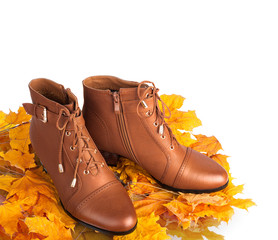 Pair of brown female boots on a background of golden autumn leav