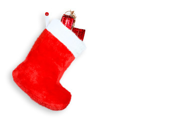 Red christmas boot with gifts on white background isolated