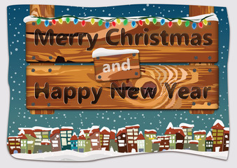 Christmas greeting card - wooden signboard