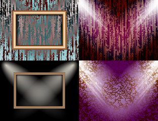 Set of Blank frame on a color wall lighting, abstract colored