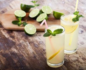Fresh limes, mint and lemonade