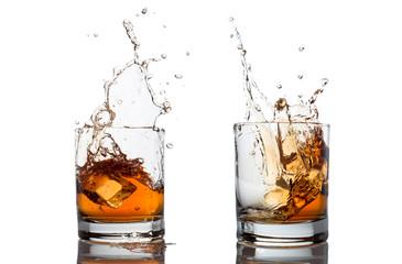 whisky splash isolated on a white