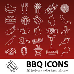 barbecue outline icons