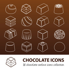 chocolate outline icons