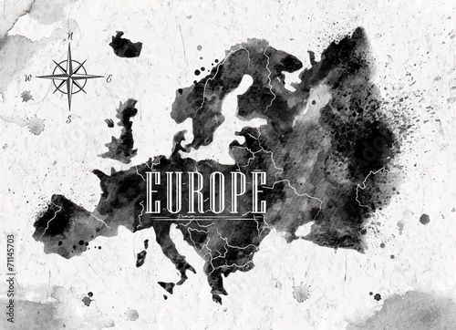 Juliste Ink Europe map