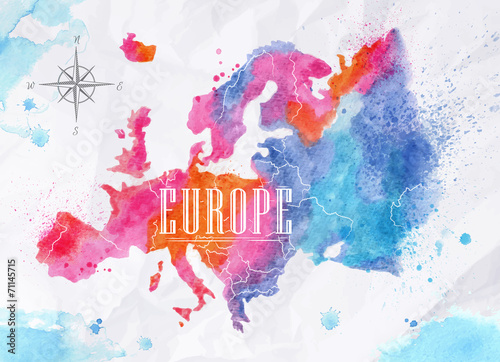 Juliste Watercolor Europe map pink blue