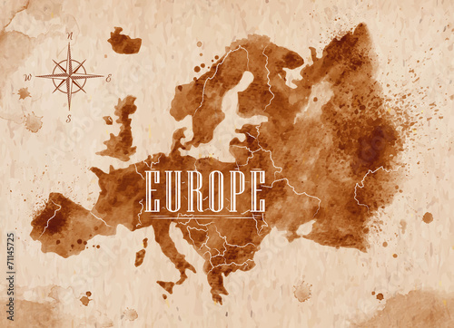 Juliste Map Europe retro