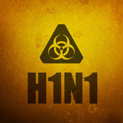 H1N1 Swine Flu biohazard yellow alert sign