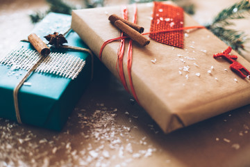 Modern Christamas gifts box presents on brown paper