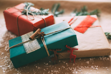 Classy Christamas gifts box presents on brown paper