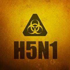H5N1 Avian Flu - Bird Flu. Biohazard yellow alert sign