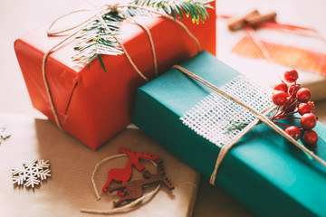 Retro Christamas gifts box presents on brown paper