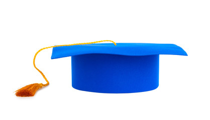 Blue graduation cap with gold tassel isolated on a white backgro